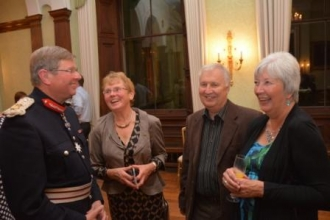The Lord-Lieutenant chats to volunteers Elaine Robinson Ann Hunt and her husband David